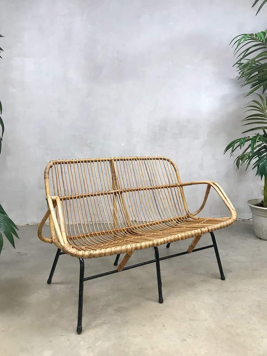 vintage design rattan sofa bench rotan bank rohe noordwolde. Black Bedroom Furniture Sets. Home Design Ideas