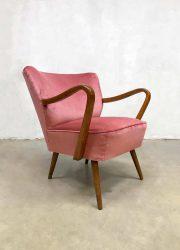 jaren 50 60 cocktail stoel retro design cocktail chair pink velvet armchair