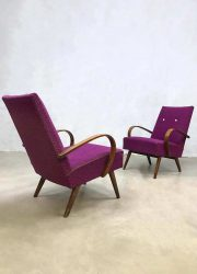 Midcentury modern Halabala armchairs Czech design lounge fauteuil