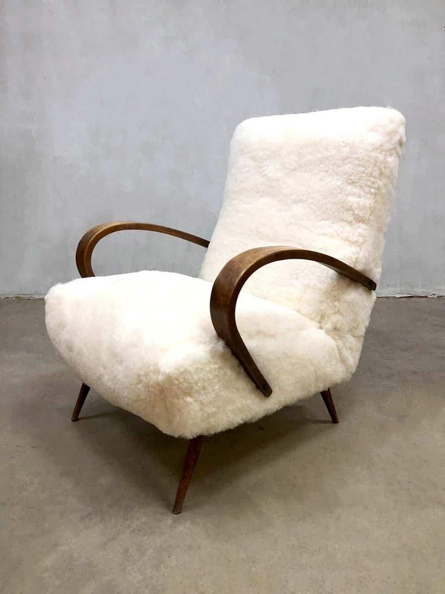 Midcentury Modern Sheepskin Armchair Vintage Schapen