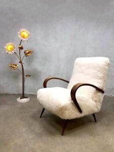 Midcentury modern sheepskin armchair vintage schapen fauteuil Halabala style