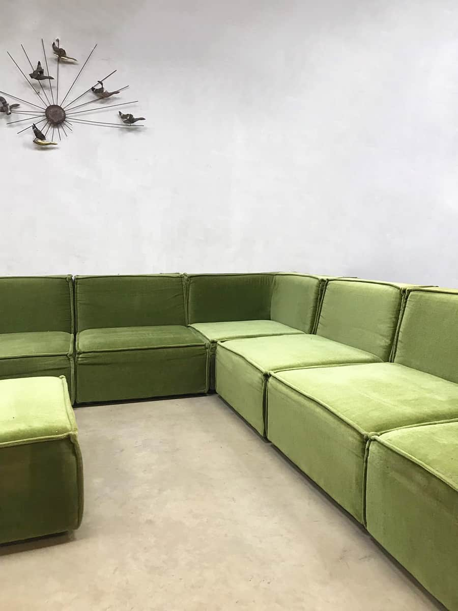 Design Elementen Bank.Vintage Design Modular Sofa Elementen Bank Xxl Botanical Green