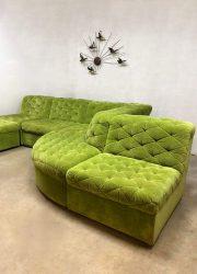green vintage modular sofa lounge bank modulair groen velours
