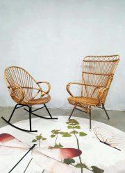 Vintage rattan armchair rocking chair, vintage rotan schommelstoel fauteuil Rohe Noordwolde