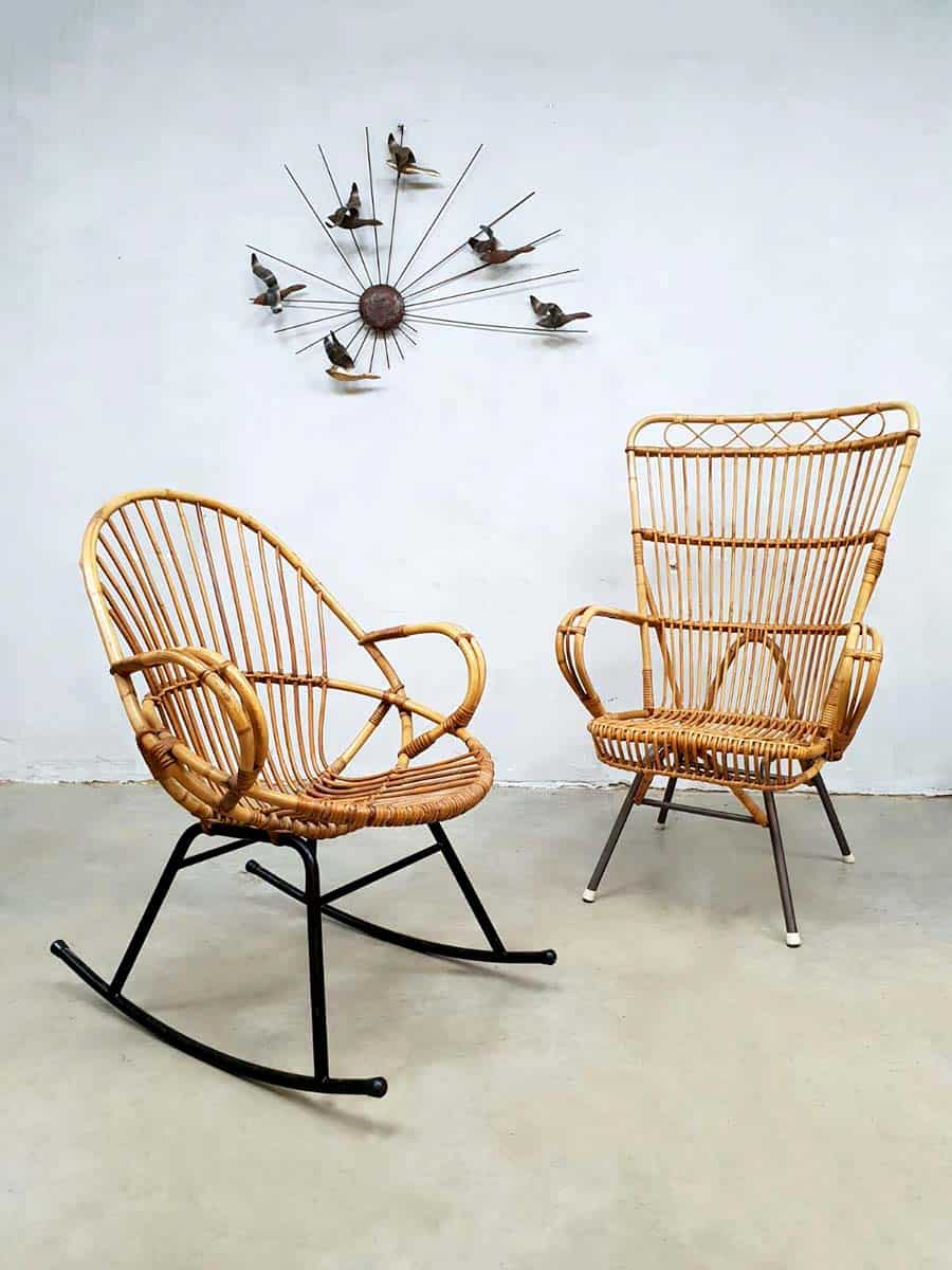 Leuke Rotan Fauteuil.Vintage Rattan Armchair Rocking Chair Rotan Schommelstoel R Noordwolde