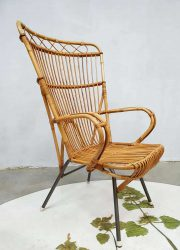 vintage rattan armchair lounge fauteuil rotan R. Noordwolde
