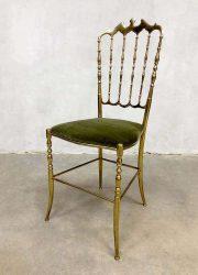 vintage Italiaanse eetkamerstoel Chiavari brass dinner chair Dubai stijl