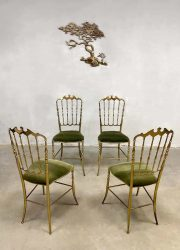 Italian vintage brass dining chairs stoelen Chiavari Hollywood regency