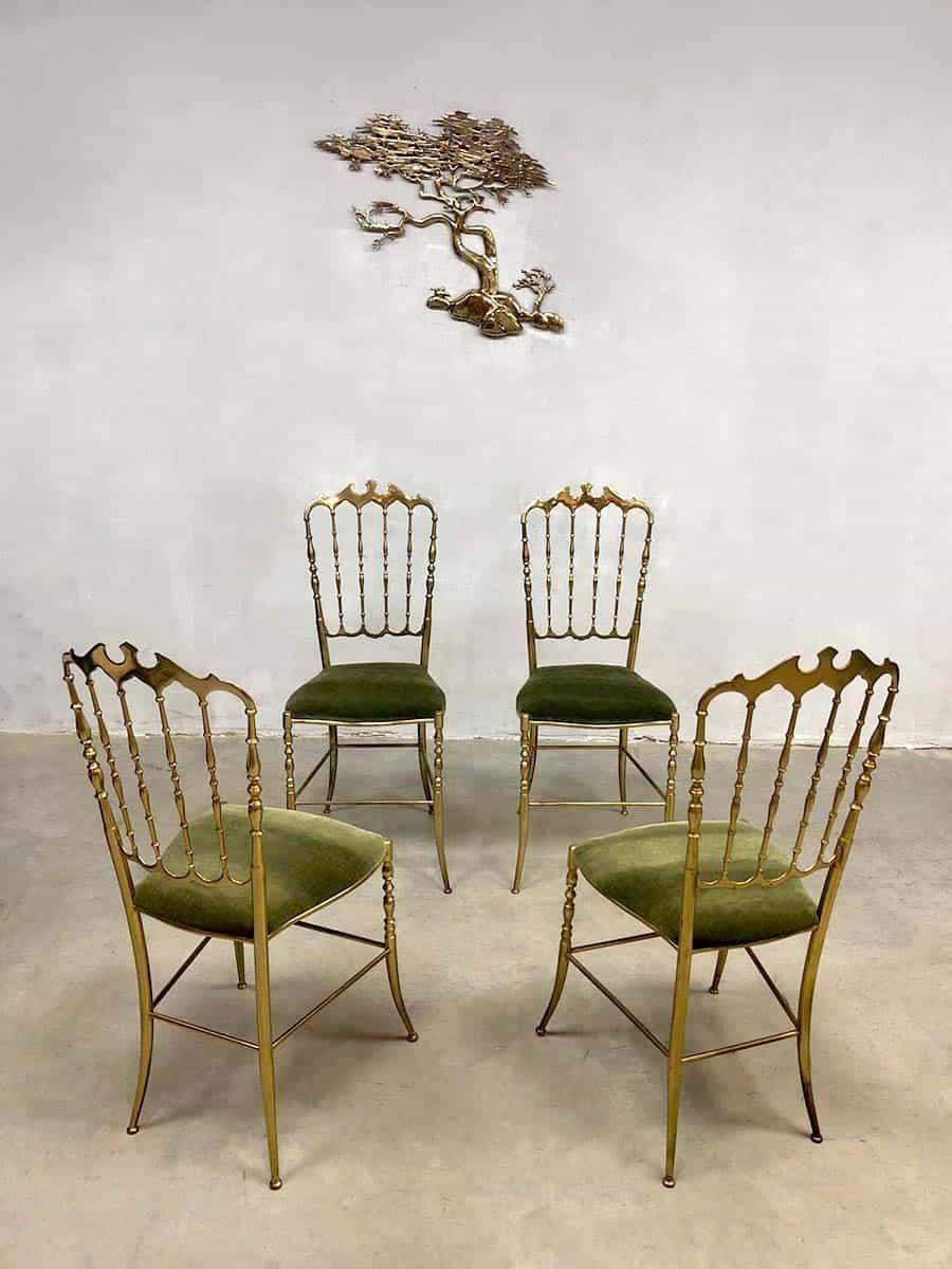 Italian Vintage Brass Dining Chairs Stoelen Chiavari