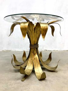 Italian gilt leaf coffee table tole table side table gilded gold bijzettafel