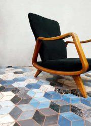 Vinyl carpet tapijt vloerkleed 'blue cubes marble'