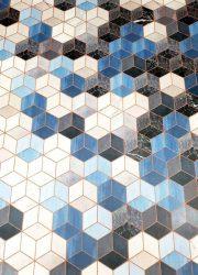 vinyl blue 3D cubes marble look carpet vinyl tapijt blauwe kubus 3D effect marmer Tarkett vloerkleed