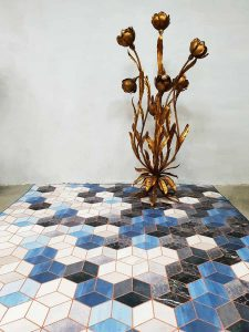 Vinyl carpet tapijt vloerkleed 'blue cubes marble' Tarkett