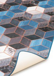 Finally vinyl blue cubes marble carpet vinyl antislip tapijt blauwe kubus marmer indoor outdoor