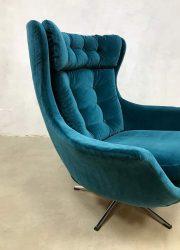 retro egg swivel chair lounge fauteuil blue velvet oorfauteuil