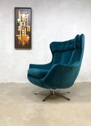 vintage design wingback chair swivel chair oorfauteuil draaibaar blue velvet