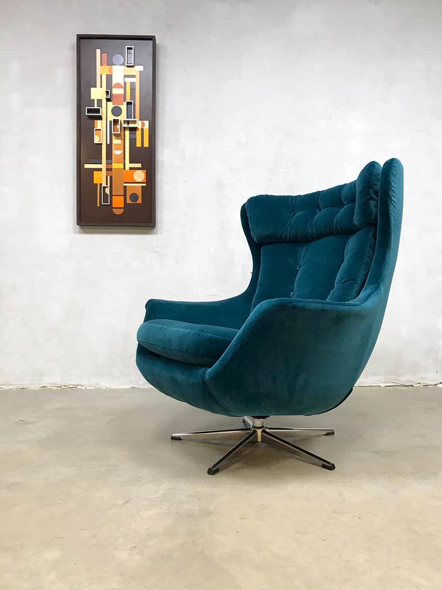 Vintage Retro Egg Chair Swivel Wingback Chair Draaifauteuil