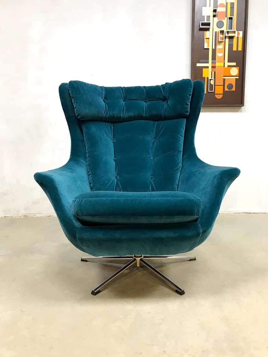 Egg Chair Stof.Vintage Retro Egg Chair Swivel Wingback Chair Draaifauteuil