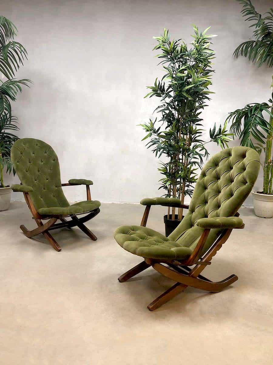 French Midcentury Modern Folding Chairs Vintage Safari Chair