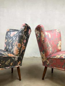 Clubfauteuil flowerprint dutch design vintage bloemenprint cocktailstoel