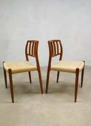 Vintage design Dining Chairs by N. O. Moller for J. L. Møllers Model 83 eetkamer stoelen 2