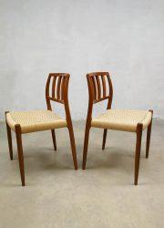 Vintage design Dining Chairs by N. O. Moller for J. L. Møllers Model 83 eetkamer stoelen 2