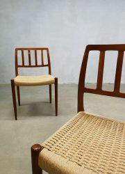 vintage moller eetkamerstoelen dining chairs Niels O moller model 83 stoel