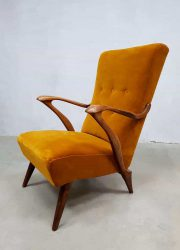 vintage arm chair Danish design lounge fauteuil gold velvet