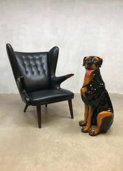vintage design figurine dog ceramic dog rottweiler