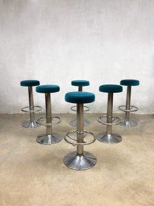 Sixties vintage design barstools barkruk krukken 'blue velvet'