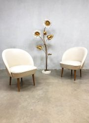 Vintage retro ecru club chairs lounge chairs fifties jaren 50 design