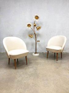 Vintage retro ecru club chairs lounge chairs fifties jaren 50 design