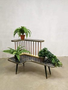 Vintage fifties plant stand plantenstandaard 'marble effect'