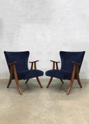 velvet design lounge chair fifties sixties design vintage lounge chair armchair jaren 50 60