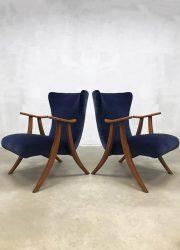 Midcentury modern wingback chair vintage oorfauteuil koningsblauw