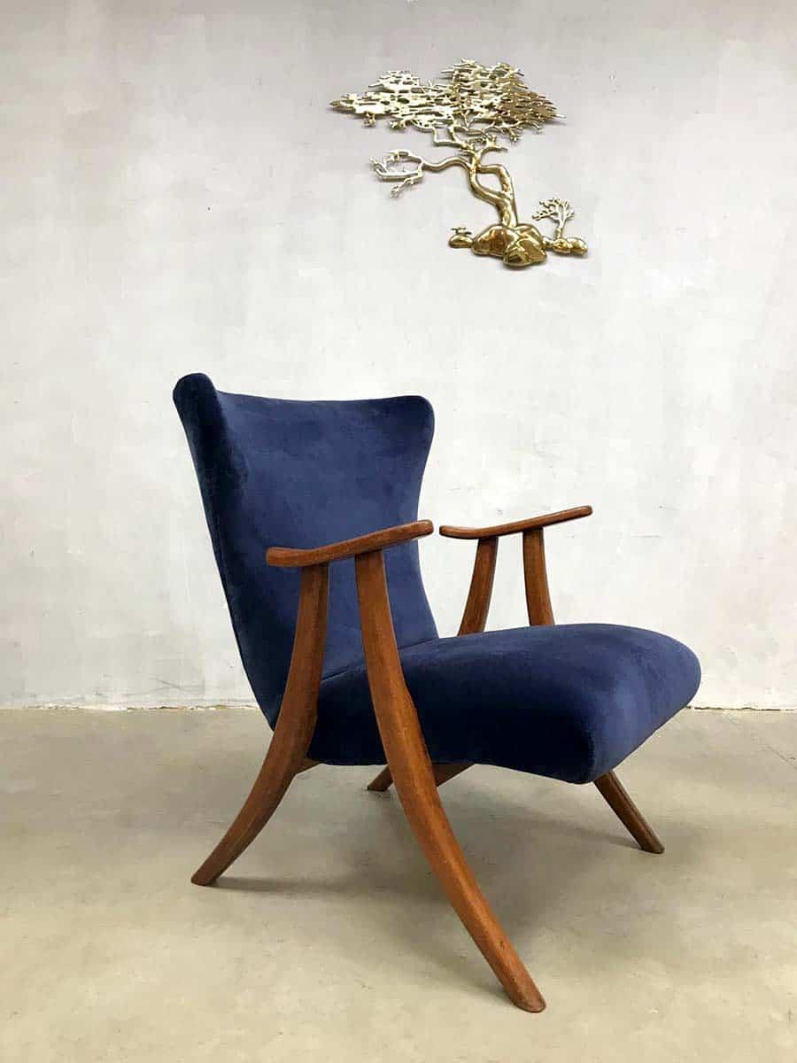Leuke Design Fauteuil.Midcentury Modern Wingback Chair Vintage Oorfauteuil Koningsblauw
