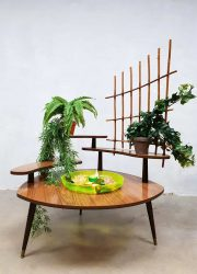 Vintage retro plantstand fountain plantenstandaard bijzettafel 'oase'