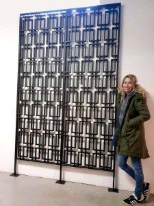 Brutalist metal room divider paravan wall unit scheidingswand wandsculptuur