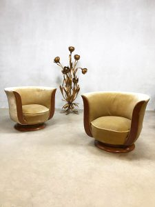 vintage design Le Malandre model Depose art deco tulip lounge chair
