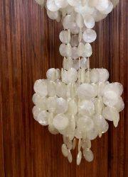 midcentury design hanglamp capiz shell Verner Pantonstyle lamp