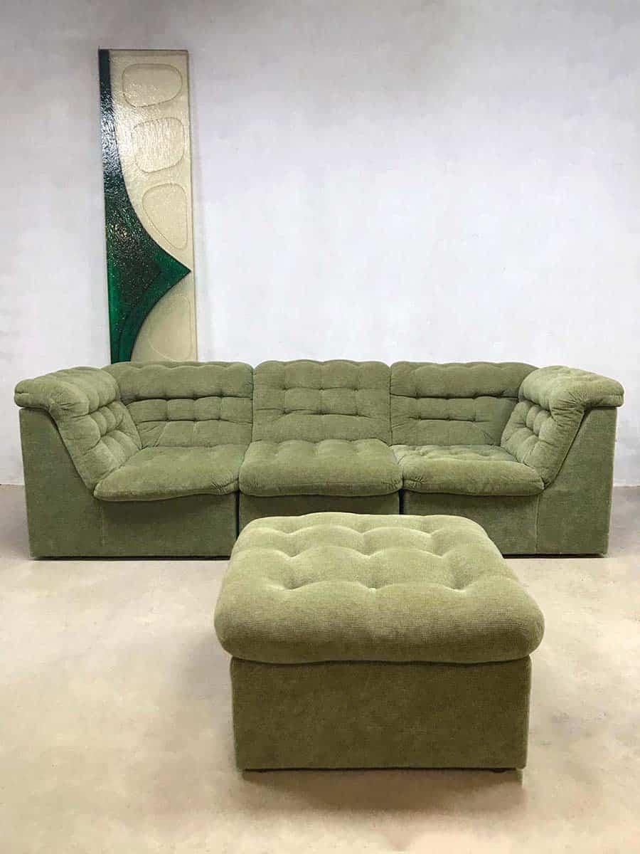 Vintage Design Velvet Modular Sofa Seating Elements Bank