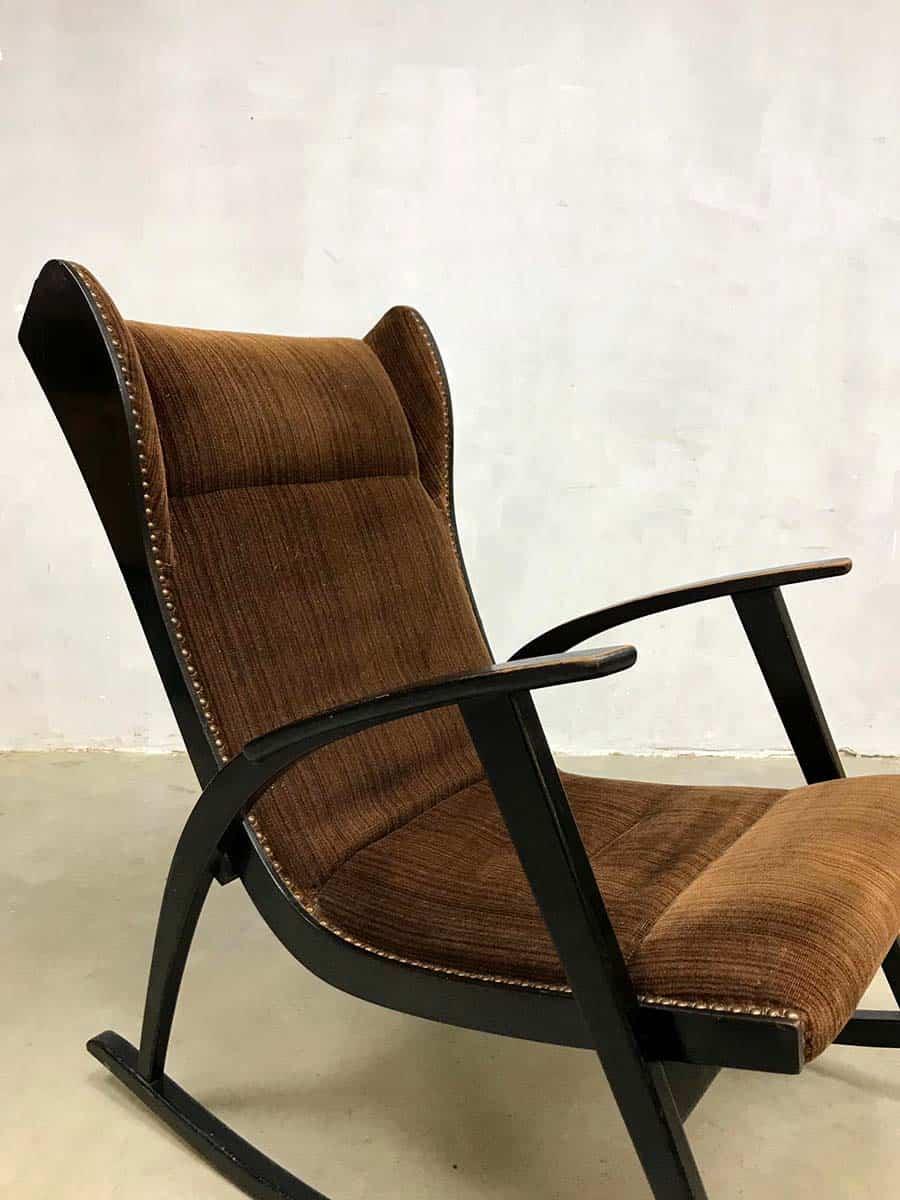 Vintage Danish Design Wingback Rocking Chair Schommelstoel
