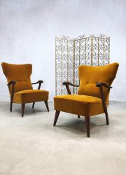 Midcentury modern wingback chairs lounge fauteuils Dutch design A. A. Patijn