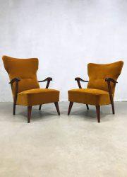 vintage design armchair lounge fauteuil oorfauteuil wingback chair art deco stijl
