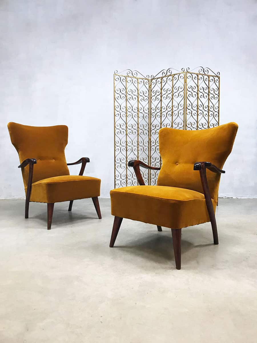 Phenomenal Midcentury Modern Wingback Chairs Lounge Fauteuils Dutch Ibusinesslaw Wood Chair Design Ideas Ibusinesslaworg