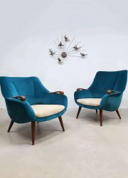 Vintage Danish design armchairs velvet lounge fauteuils 'Ocean Blue'