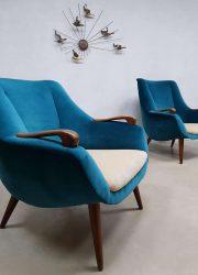 Vintage Deense lounge fauteuils Scandinavisch luxe velvet stoelen velours armchairs