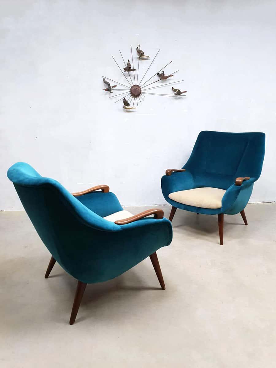 Lounge Stoel Retro.Vintage Danish Design Armchairs Velvet Lounge Fauteuils Ocean