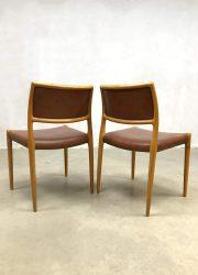 vintage Danish dining chairs eetkamerstoelen Moller no 80 JL Mobelfabrik