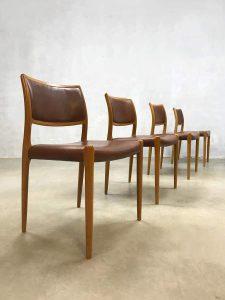 Vintage Danish dining chairs Niels O. Møller eetkamerstoelen No.80
